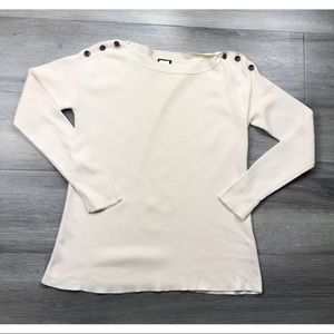 J. Crew bateau button sweater ivory pullover xs
